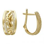 Золотые серьги с вставкой фианит