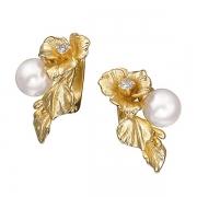 Золотые серьги Aldzena с бриллиантами и жемчугом