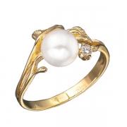Золотое кольцо Aldzena с бриллиантом и жемчугом