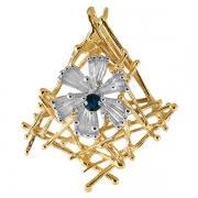 Золотой кулон Aldzena с бриллиантами и сапфиром
