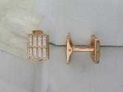 Золотые запонки с вставкой фианит