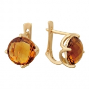 Золотые серьги с вставкой кварц