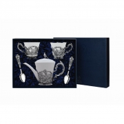 """Набор фарфоровой посуды """"Королевская охота"""" (5 предметов с чайником) в футляре"""
