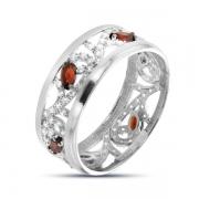 Серебряное кольцо с гранатом и фианитом