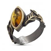 Серебряное кольцо с янтарем и позолотой