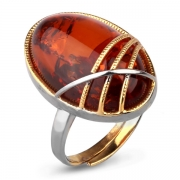Серебряное с позолотой кольцо с янтарем