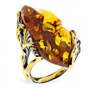 Кольцо из серебра с позолотой с янтарем