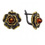 Серебряные серьги с янтарем и позолотой
