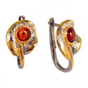 Серебряные серьги с позолотой и янтарем