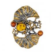 Серебряная подвеска с позолотой с янтарем