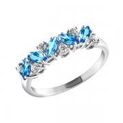 Серебряное кольцо с топазами и фианитами SOKOLOV