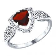 Серебряное кольцо с гранатом и фианитами SOKOLOV