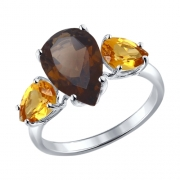 Серебряное кольцо с раух-топазом и цитринами SOKOLOV