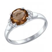 Серебряное кольцо с раух-топазами и фианитами