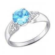 Серебряное кольцо с топазом и фианитами