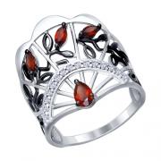 Серебряное кольцо SOKOLOV с гранатом