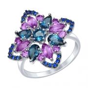 Серебряное кольцо SOKOLOV с топазами и аметистами