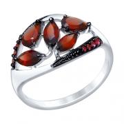 Серебряное кольцо с гранатами и фианитами SOKOLOV