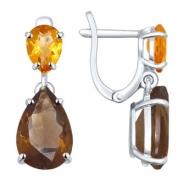 Серебряные серьги с раух-топазом и цитринами