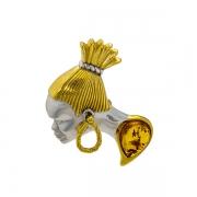 Серебряный кулон с янтарем и позолотой
