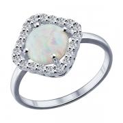 Серебряное кольцо с синт. опалом и фианитами