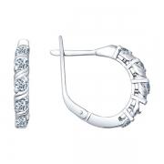 Серебряные серьги с эмалью и фианитами