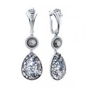 Серебряные серьги с жемжугом ,кристаллом Сваровски и фианитами
