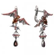 Серебряные серьги Sandara с раух-топазом и фианиатми