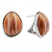 Серебряные серьги Sandara c ботсванским агатом
