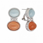Серебряные серьги Sandara c аквамарином и лунным камнем
