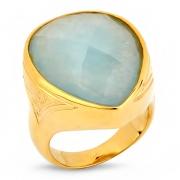 Серебряное кольцо Sandara с аквамарином и позолотой