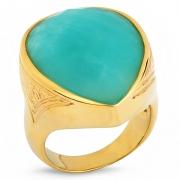 Серебряное кольцо Sandara с амазонитом и позолотой