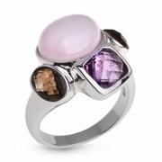 Серебряное кольцо Sandara c кунцитом, дымчатым кварцем и аметистом