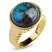 Серебряное кольцо Sandara с хризоколлой и позолотой