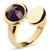 Серебряное кольцо Sandara с гранатом и позолотой