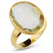 Серебряное кольцо Sandara с зеленым аметистом и позолотой