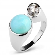 Серебряное кольцо Sandara с ларимаром и зеленым аметистом
