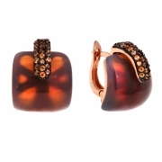 Серебряные с позолотой серьги Ombra с ониксом и фианитами