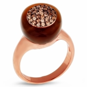 Серебряное кольцо с тигровым глазом, фианитом и позолотой