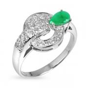 Серебряное кольцо Sandara с изумрудом и фианитами