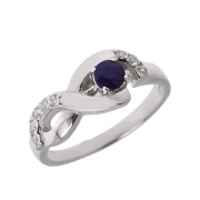 Серебряное кольцо Sandara с сапфиром и фианитами
