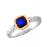 Серебряное кольцо Sandara с сапфиром, фианитами и позолотой