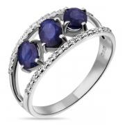 Серебряное кольцо Sandara с сапфирами и фианитами