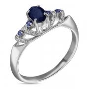 Серебряное кольцо Sandaraс сапфиром и фианитами