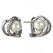 Серебряные серьги AS с жемчугом и фианитами