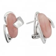Серебряные серьги AS с розовым кварцем