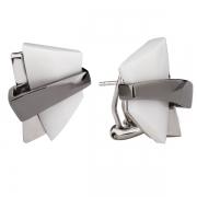 Серебряные серьги AS с белым агатом