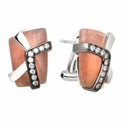 Серебряные серьги AS с розовым кварцем и фианитами