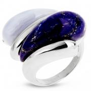 Серебряное кольцо AS с лазуритом и голубым агатом