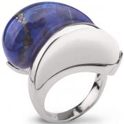 Серебряное кольцо AS с белым агатом и лазуритом